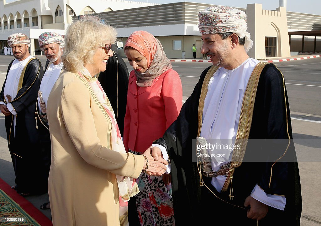 <a gi-track='captionPersonalityLinkClicked' href=/galleries/search?phrase=Camilla+-+Duchess+of+Cornwall&family=editorial&specificpeople=158157 ng-click='$event.stopPropagation()'>Camilla</a>, Duchess of Cornwall meets dignitaries as she arrives at Oman International Airport on the seventh day of a tour of the Middle East on March 17, 2013 in Muscat, Oman. The Royal couple are on the fourth and final leg of a tour of the Middle East taking in Jordan, Qatar, Saudia Arabia and Oman.