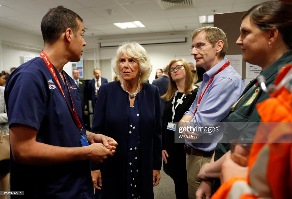 Camilla, Duchess of Cornwall meets members of staff at the Royal London Hospital following the London Bridge Terror Attack, on June 6, 2017 in London, England.