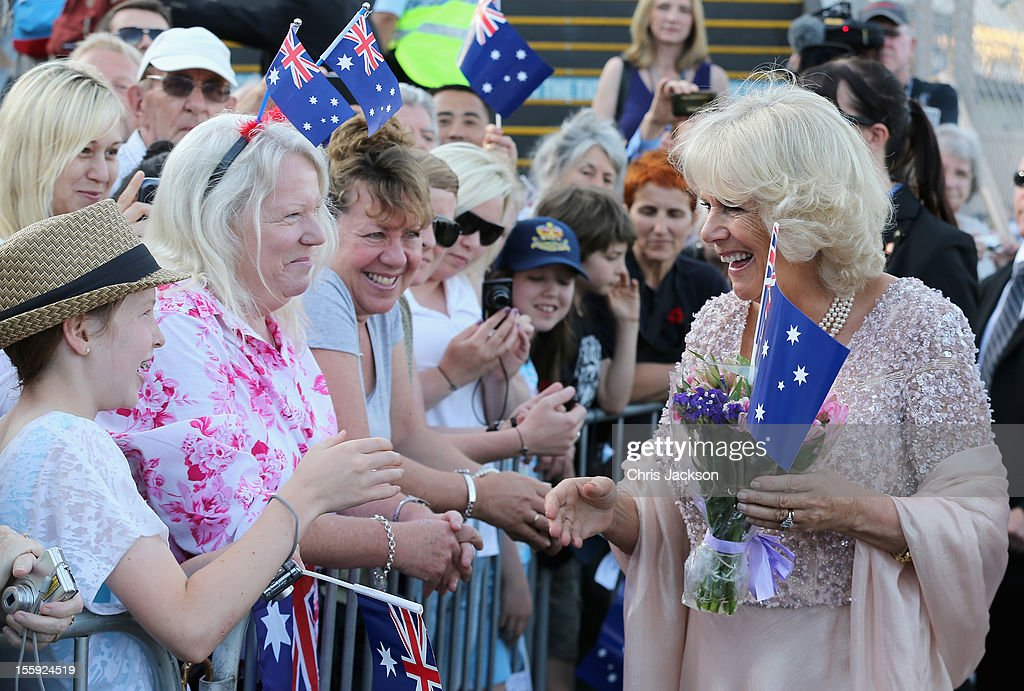 <a gi-track='captionPersonalityLinkClicked' href=/galleries/search?phrase=Camilla+-+Duchess+of+Cornwall&family=editorial&specificpeople=158157 ng-click='$event.stopPropagation()'>Camilla</a>, Duchess of Cornwall meets members of the public as she arrives to attend a Jubilee Reception hosted by the Governor of NSW at Sydney Opera House on November 9, 2012 in Sydney, Australia. The Royal couple are in Australia on the second leg of a Diamond Jubilee Tour taking in Papua New Guinea, Australia and New Zealand.