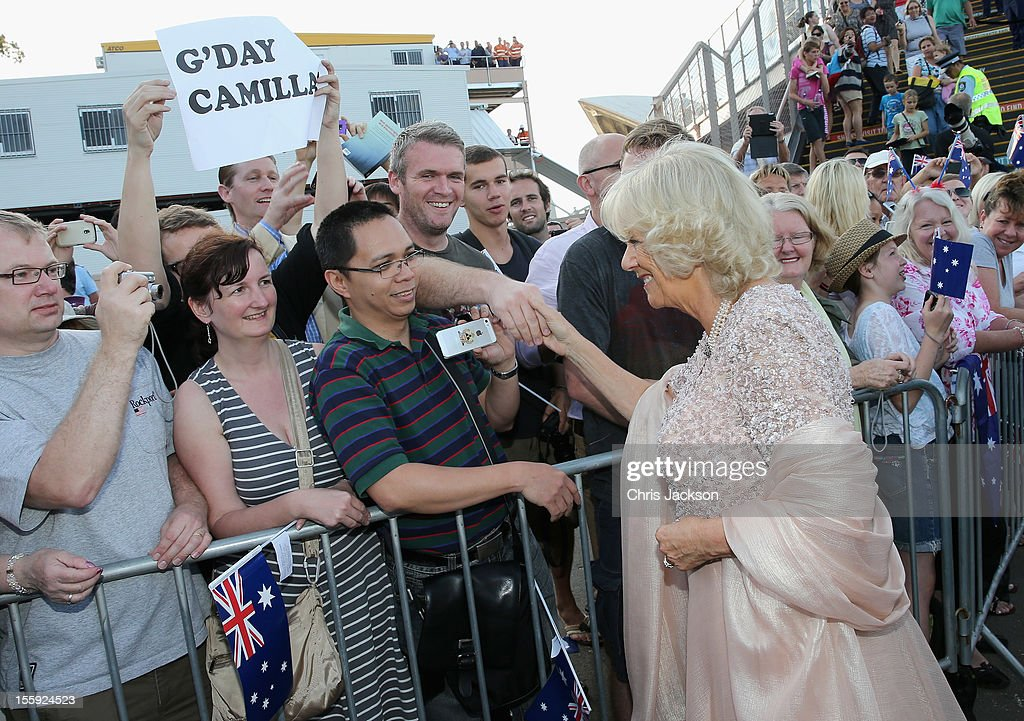 Camilla, Duchess of Cornwall meets members of the public as she arrives to attend a Jubilee Reception hosted by the Governor of NSW at Sydney Opera House on November 9, 2012 in Sydney, Australia. The Royal couple are in Australia on the second leg of a Diamond Jubilee Tour taking in Papua New Guinea, Australia and New Zealand.