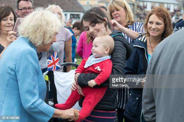Camilla Duchess of Cornwall meets members of the public as she visits Porthleven during an annual trip to Devon and Cornwall on July 19 2017 in...