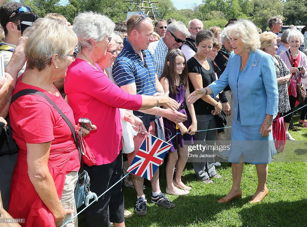 Camilla, Duchess of Cornwall meets members of the public at a Youth Showcase during a visit to Saumarez Park on July 19, 2012 in St Peter Port, United Kingdom. The Prince of Wales and the Duchess of Cornwall are in Guernsey as part of a Diamond Jubilee visit to the Channel Islands taking in Jersey, Guernsey and Sark