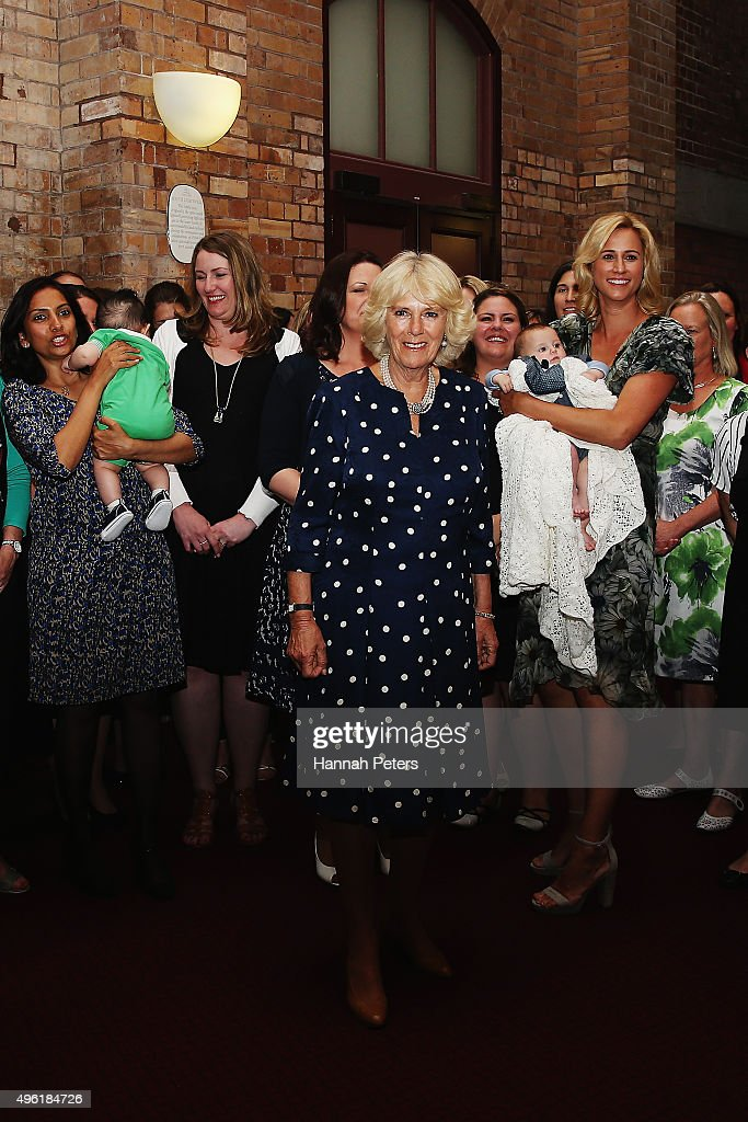 Camilla Duchess of Cornwall meets mothers from the Bellyful charity on November 8 2015 in Auckland New Zealand The Royal couple are on a 12 day tour...