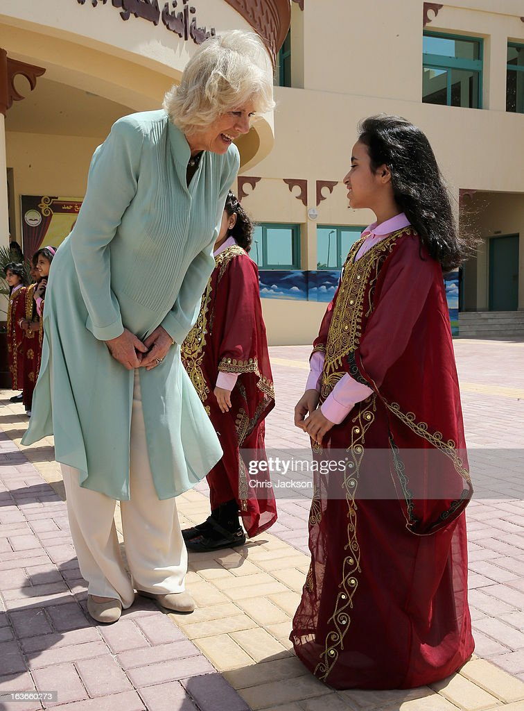 <a gi-track='captionPersonalityLinkClicked' href=/galleries/search?phrase=Camilla+-+Duchess+of+Cornwall&family=editorial&specificpeople=158157 ng-click='$event.stopPropagation()'>Camilla</a>, Duchess of Cornwall meets pupils as she visits the Amna Mahmoud Al Jeddah Primary Independant School for Girls on the first day of a visit to the Qatar on March 14, 2013 in Doha, Qatar. The Royal couple are on the second leg of a tour of the Middle East taking in Qatar, Saudia Arabia and Oman.