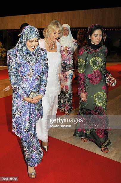 Camilla Duchess of Cornwall meets Queen Hajah Saleha and the Sultan's second wife Arinaz Mazhar Hakim before a Royal Banquet at the Nurul Iman Palace...
