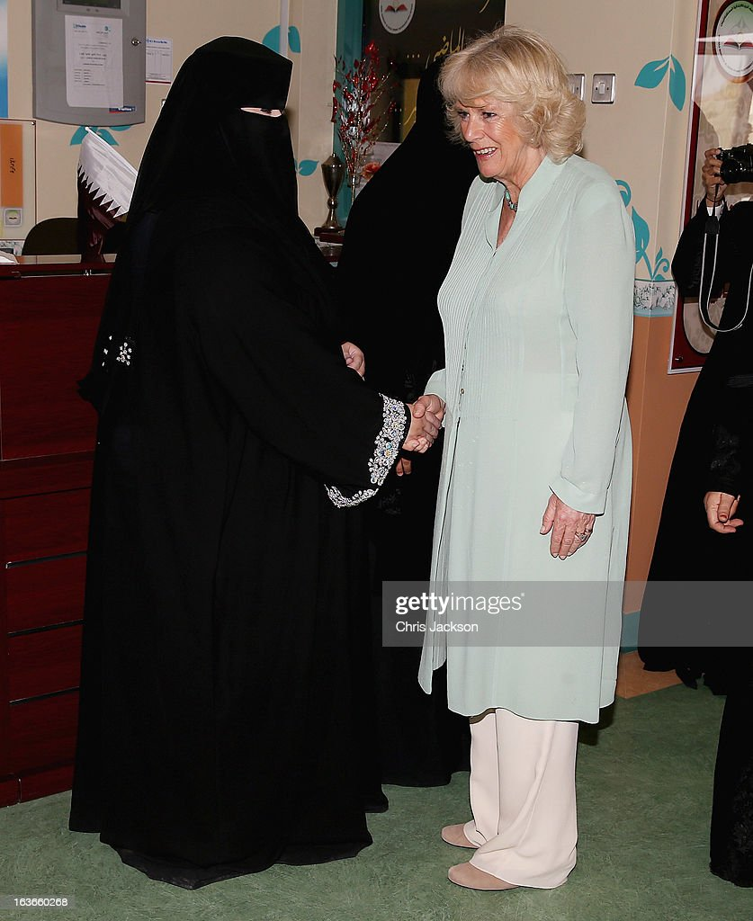 <a gi-track='captionPersonalityLinkClicked' href=/galleries/search?phrase=Camilla+-+Duchess+of+Cornwall&family=editorial&specificpeople=158157 ng-click='$event.stopPropagation()'>Camilla</a>, Duchess of Cornwall meets teachers as she visits the Amna Mahmoud Al Jeddah Primary Independant School for Girls on the first day of a visit to the Qatar on March 14, 2013 in Doha, Qatar. The Royal couple are on the second leg of a tour of the Middle East taking in Qatar, Saudia Arabia and Oman.