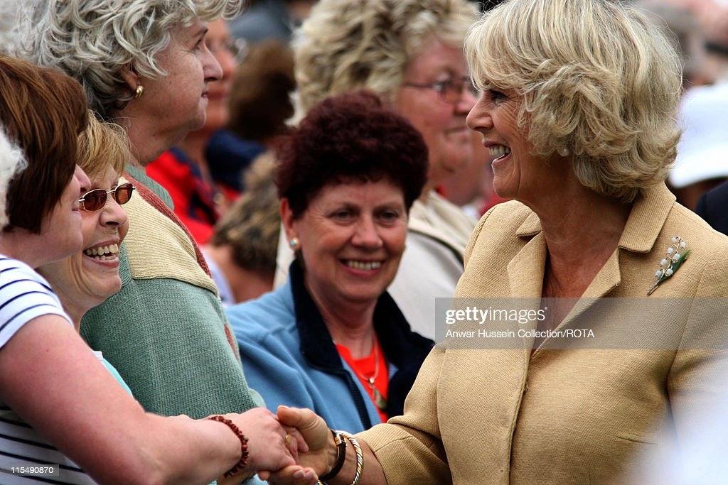 Camilla Duchess of Cornwall meets the public as she tours Sandringham Flower Show on the Sandringham Estate on July 25 2007 in Sandringham England
