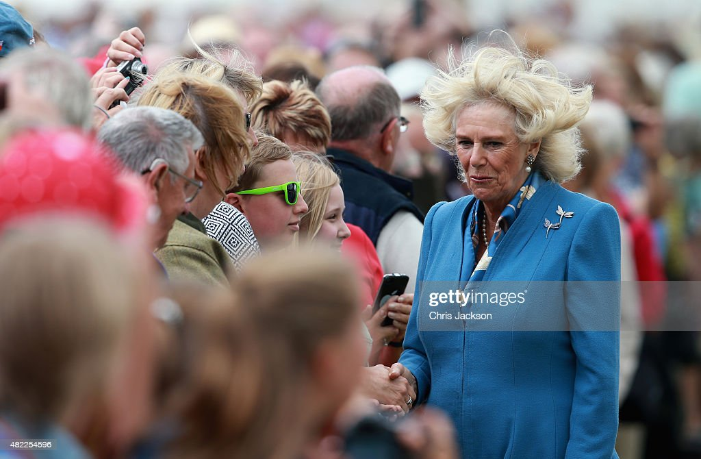 Camilla Duchess of Cornwall meets the public at Sandringham Flower Show on July 29 2015 in King's Lynn England