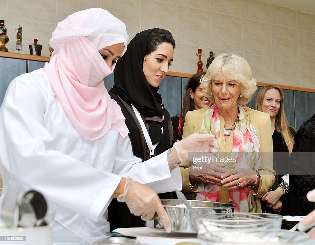 <a gi-track='captionPersonalityLinkClicked' href=/galleries/search?phrase=Camilla+-+Duchess+of+Cornwall&family=editorial&specificpeople=158157 ng-click='$event.stopPropagation()'>Camilla</a>, Duchess of Cornwall meets women who are learning cooking skills at the Bab Rizq Jameel Nafisa Shams Female Academy for Arts and Crafts on March 17, 2013 ,Jeddah, Saudi Arabia.