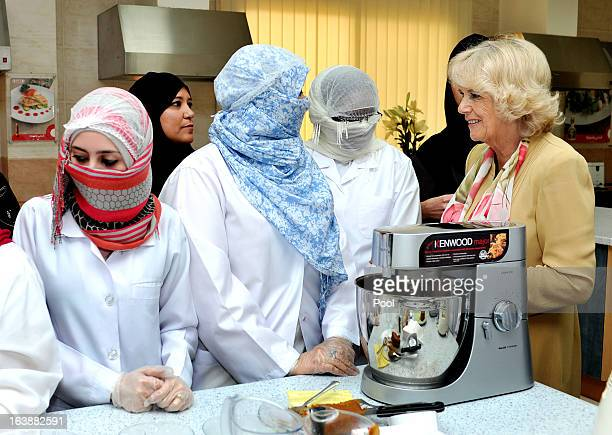 Camilla Duchess of Cornwall meets women who are learning cooking skills at the Bab Rizq Jameel Nafisa Shams Female Academy for Arts and Crafts on...