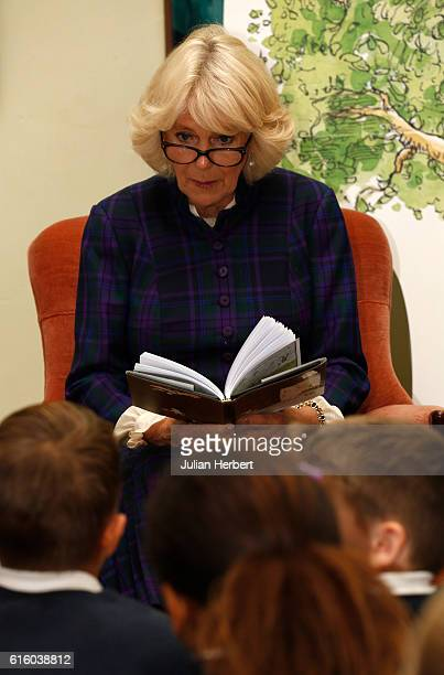 Camilla Duchess of Cornwall patron of Beanstalk visits the Wells Festival of Literature at The Bishop's Palace on October 21 2016 in Wells England...