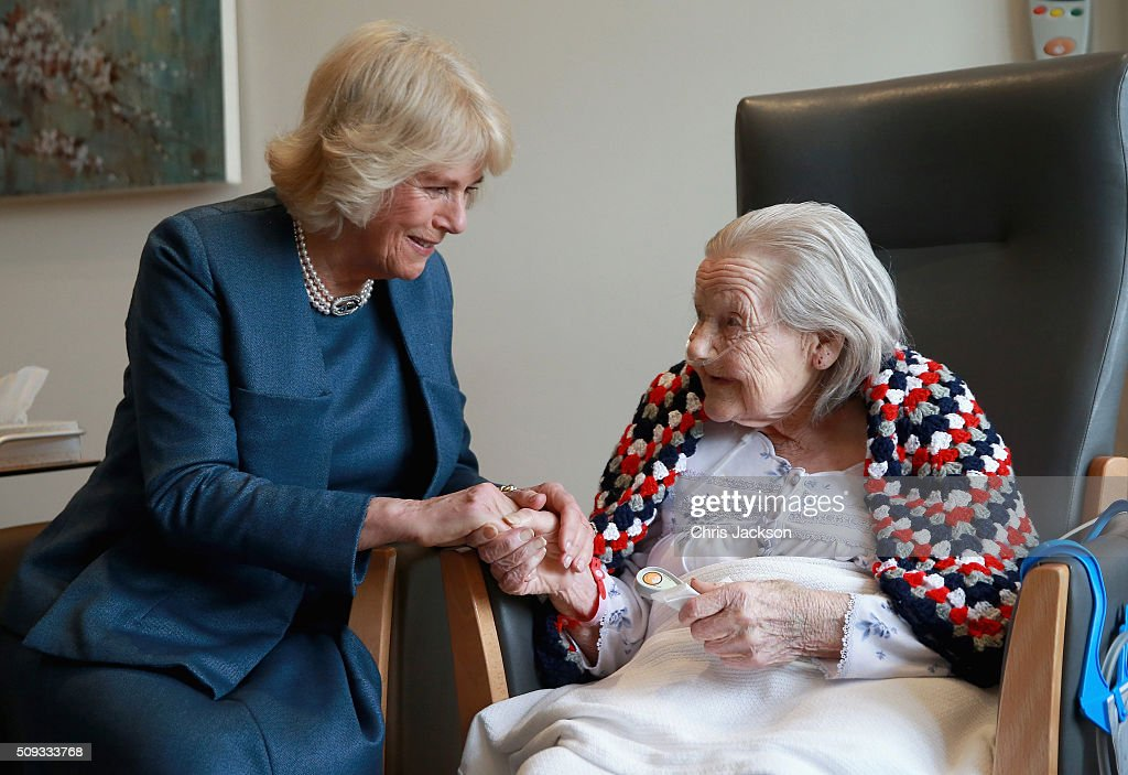 <a gi-track='captionPersonalityLinkClicked' href=/galleries/search?phrase=Camilla+-+Duchess+of+Cornwall&family=editorial&specificpeople=158157 ng-click='$event.stopPropagation()'>Camilla</a>, Duchess of Cornwall, Patron of Royal Trinity Hospice, meets Helen Cooper (aged 97) as she visits Royal Trinity Hospice at Royal Trinity Hospice on February 10, 2016 in London, England. The Duchess was visiting to mark the beginning of the 125th Anniversary and met staff, volunteers, patients and their families.