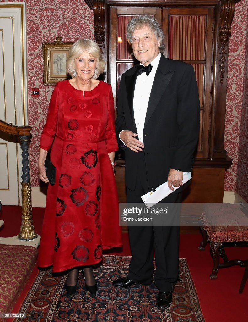 Camilla, Duchess of Cornwall, Patron of the London Library, hosts a dinner and evening of readings in honour of the Library's President, Sir Tom Stoppard at Clarence House on May 18, 2017 in London, England.