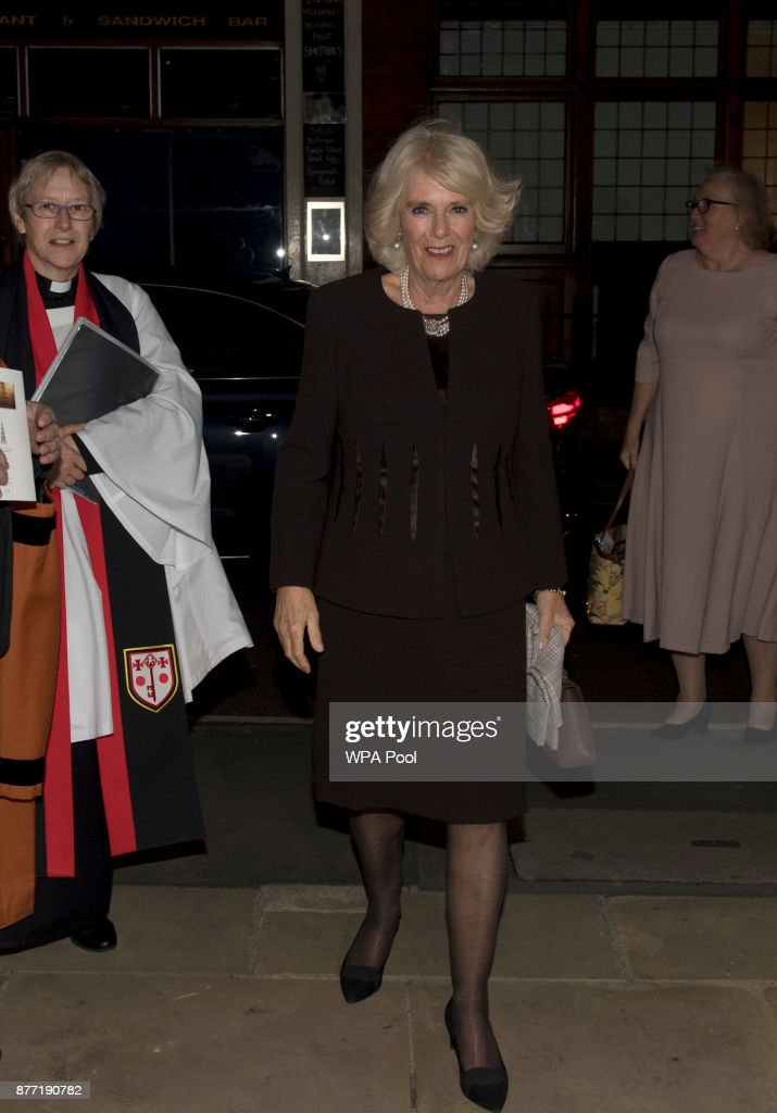 The Duchess Of Cornwall Attends A Commemorative Service At St Bride's Church