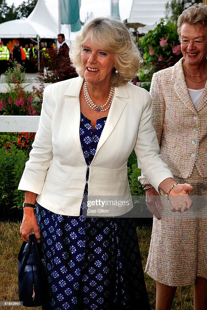 Camilla, Duchess of Cornwall pays a visit to the Plant Heritage Marquee at Hampton Court Palace Flower Show on July 7, 2008 in London, England. The annual Hampton Court Palace Flower Show will run from July 8 to July 13, 2008.