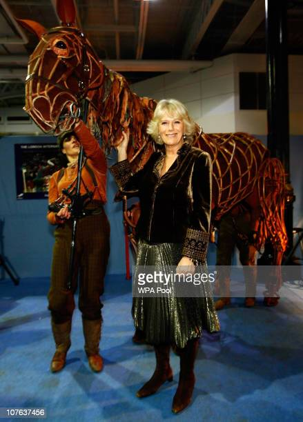Camilla Duchess of Cornwall poses for a photograph with a puppet from the theatre production of War Horse at The London International Horse Show at...