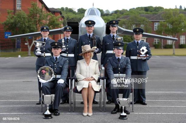 Camilla Duchess of Cornwall poses for a photograph with air cadet award winners during a visit to RAF Halton on May 24 2017 in Aylesbury England