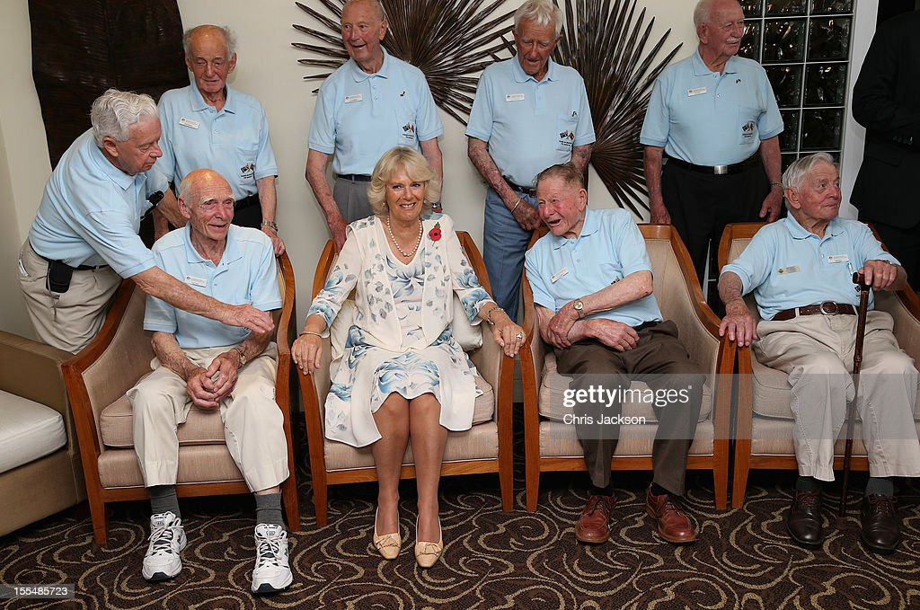 Camilla, Duchess of Cornwall poses for a picture with Kokoda Campaign veterans during a reception for Kokoda Veterans on the 70th Anniversary of the Australian battle against to Japanese at the Airways Hotel on November 4, 2012 in Port Moresby, Papua New Guinea. The Royal couple are in Papua New Guinea on the first leg of a Diamond Jubilee Tour taking in Papua New Guinea, Australia and New Zealand.