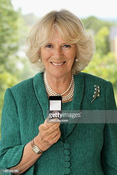 Camilla Duchess of Cornwall poses with a 'Diamond Champions' Badge on July 10 2012 in Brecon Wales In an exclusive interview for the Express...