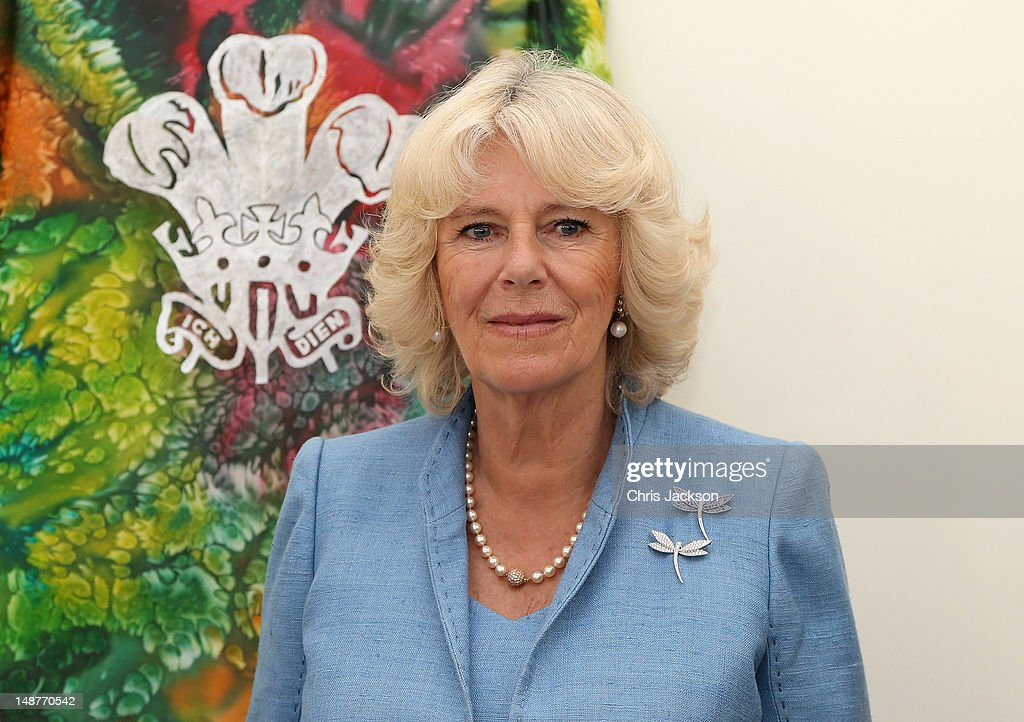 Camilla, Duchess of Cornwall prepares to unveil a plaque in Les Bourges Hospice on July 19, 2012 in St Peter's Port, United Kingdom. The Prince of Wales and the Duchess of Cornwall are in Guernsey as part of a Diamond Jubilee visit to the Channel Islands taking in Jersey, Guernsey and Sark
