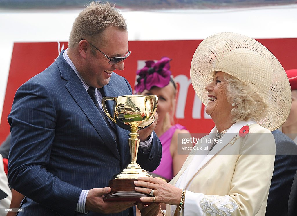 <a gi-track='captionPersonalityLinkClicked' href=/galleries/search?phrase=Camilla+-+Duchess+of+Cornwall&family=editorial&specificpeople=158157 ng-click='$event.stopPropagation()'>Camilla</a>, Duchess of Cornwall presents the Melbourne Cup trophy to winning owner Nick Williams after Green Moon won the Emirates Melbourne Cup during 2012 Melbourne Cup Day at Flemington Racecourse on November 6, 2012 in Melbourne, Australia.