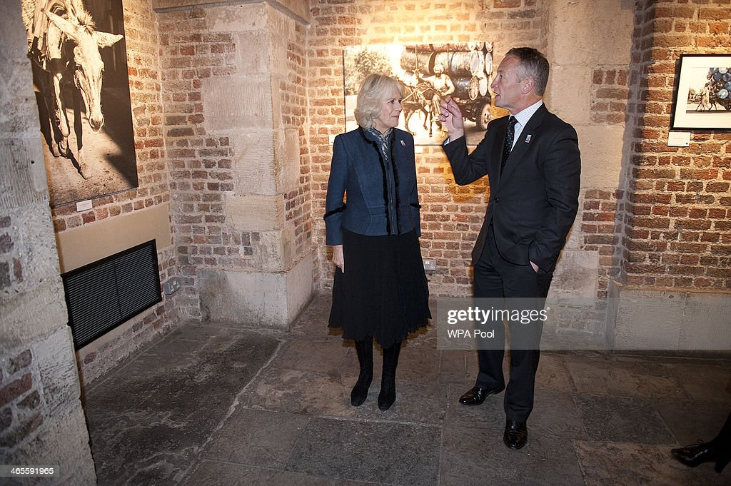 Camilla Duchess of Cornwall president of the Brooke visits the 'The Brooke through a lens' photography exhibition with Richard Dunwoody MBE to mark...