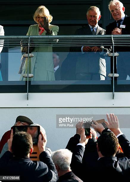 Camilla Duchess of Cornwall Prince Charles Prince Of Wales and Chairman of County Sligo Racing Kieran O'Connor attend the Sligo Races at Sligo...
