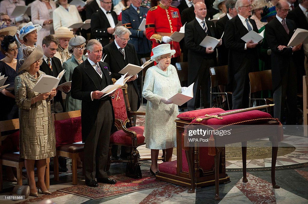 <a gi-track='captionPersonalityLinkClicked' href=/galleries/search?phrase=Camilla+-+Duchess+of+Cornwall&family=editorial&specificpeople=158157 ng-click='$event.stopPropagation()'>Camilla</a>, Duchess of Cornwall, <a gi-track='captionPersonalityLinkClicked' href=/galleries/search?phrase=Prince+Charles+-+Prince+of+Wales&family=editorial&specificpeople=160180 ng-click='$event.stopPropagation()'>Prince Charles</a>, Prince of Wales and Queen <a gi-track='captionPersonalityLinkClicked' href=/galleries/search?phrase=Elizabeth+II&family=editorial&specificpeople=67226 ng-click='$event.stopPropagation()'>Elizabeth II</a> during a service of thanksgiving to mark the Queen's Diamond Jubilee at St Paul's cathedral on June 5, 2012 in London, England. For only the second time in its history the UK celebrates the Diamond Jubilee of a monarch. Her Majesty Queen <a gi-track='captionPersonalityLinkClicked' href=/galleries/search?phrase=Elizabeth+II&family=editorial&specificpeople=67226 ng-click='$event.stopPropagation()'>Elizabeth II</a> celebrates the 60th anniversary of her ascension to the throne today with a carriage procession and a service of thanksgiving at St Paul's Cathedral.