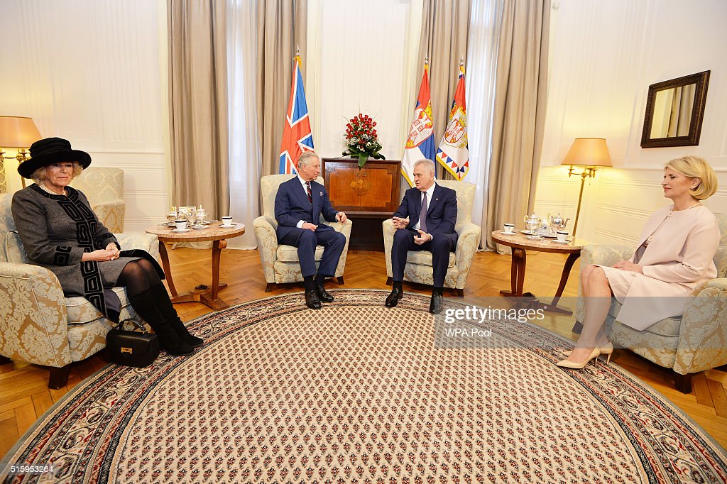 Camilla, Duchess of Cornwall, Prince Charles, Prince of Wales meet with the President of Serbia <a gi-track='captionPersonalityLinkClicked' href=/galleries/search?phrase=Tomislav+Nikolic&family=editorial&specificpeople=801987 ng-click='$event.stopPropagation()'>Tomislav Nikolic</a> and his wife Dragica at the Presidential Palace on March 16, 2016 in Belgrade, Serbia. The Prince and Duchess are visiting Croatia, Serbia, Montenegro and Kosovo.