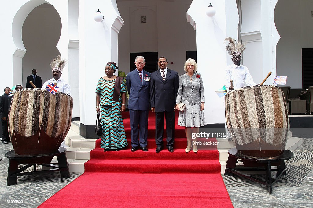 Camilla, Duchess of Cornwall, Prince Charles, Prince of Wales, President Jakaya Kikwete of Tanzania and First Lady Salma Kikwete pose for a photograph as they arrive at State House on November 7, 2011 in Dar Es Salaam, Tanzania. The Prince of Wales and the Duchess of Cornwall are on a four day tour of Tanzania after a successful trip to South Africa. The Royal couple will be highlighting environmental and social issues during their visit to Africa.