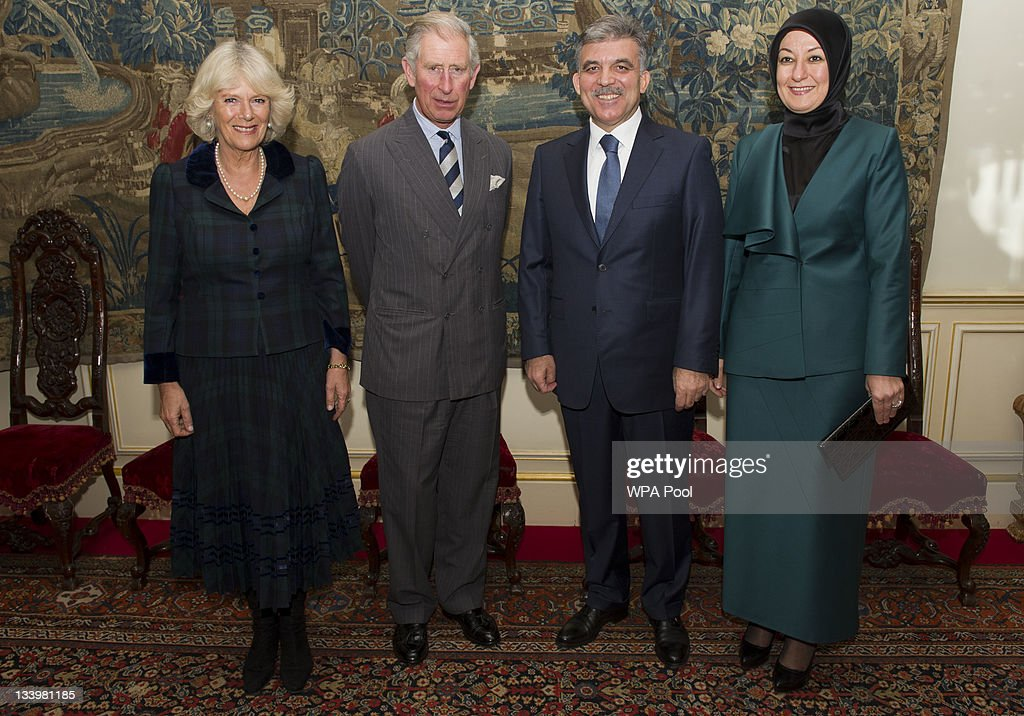 <a gi-track='captionPersonalityLinkClicked' href=/galleries/search?phrase=Camilla+-+Duchess+of+Cornwall&family=editorial&specificpeople=158157 ng-click='$event.stopPropagation()'>Camilla</a>, Duchess of Cornwall, <a gi-track='captionPersonalityLinkClicked' href=/galleries/search?phrase=Prince+Charles&family=editorial&specificpeople=160180 ng-click='$event.stopPropagation()'>Prince Charles</a>, Prince of Wales, President of Turkey <a gi-track='captionPersonalityLinkClicked' href=/galleries/search?phrase=Abdullah+Gul&family=editorial&specificpeople=539775 ng-click='$event.stopPropagation()'>Abdullah Gul</a> and his wife Hayrunnisa Gul during their visit to Clarence House on November 23, 2011 in London, England. The President and his wife viewed a display of the work of The Prince's Foundation for the Built Environment and then met students from The Prince's School of Traditional Arts.