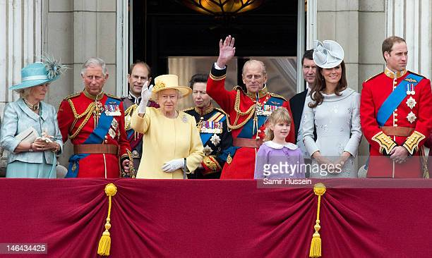 Camilla Duchess of Cornwall Prince Charles Prince of Wales Prince Edward Earl of Wessex Queen Elizabeth II Princess Anne Princess Royal Prince Philip...