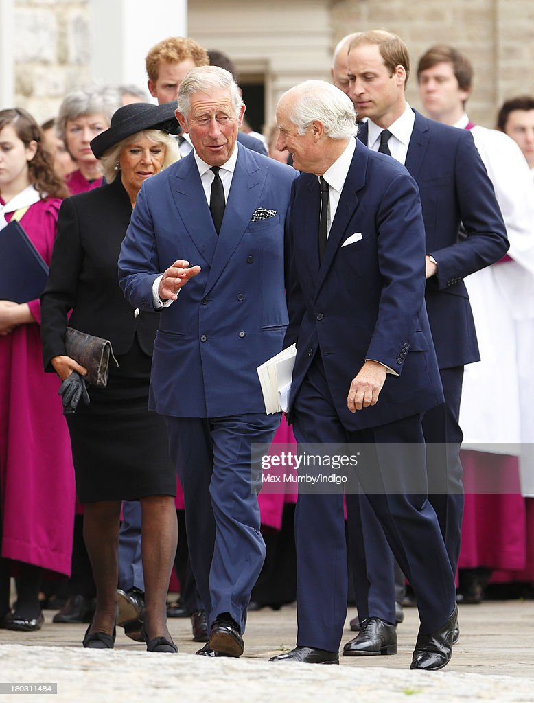 Camilla, Duchess of Cornwall, Prince Charles, Prince of Wales, Prince Harry and Prince William, Duke of Cambridge attend a requiem mass for Hugh van Cutsem who passed away on September 2nd 2013, at Brentwood Cathedral on September 11, 2013 in Brentwood, England.
