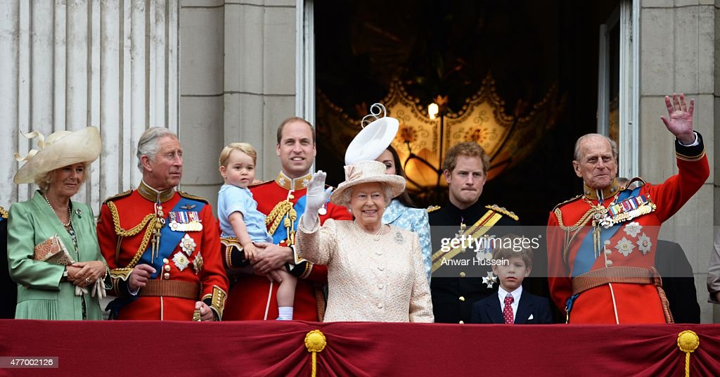 Camilla, Duchess of Cornwall, Prince Charles, Prince of Wales, Prince George, Prince William, Duke of Cambridge, Catherine, Duchess of Cambridge, Queen Elizabeth ll, Prince Harry, James, Viscount Severn and Prince Philip, Duke of Edinburgh look out from the balcony of Buckingham Palace following the Trooping the Colour Ceremony on June 13, 2015 in London, England.
