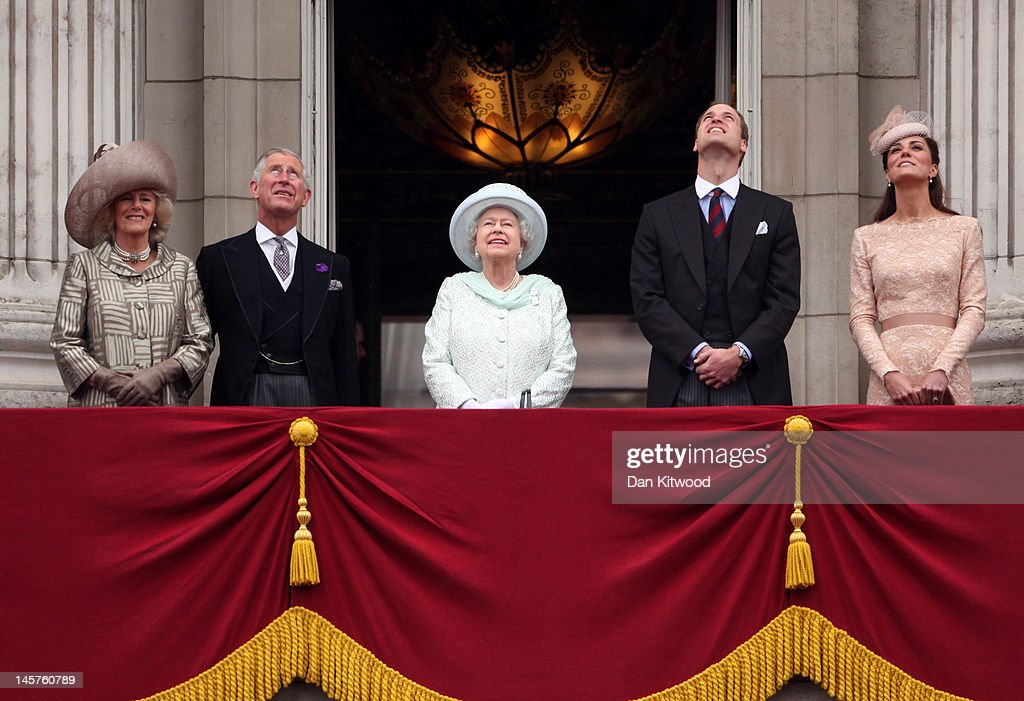 Camilla, Duchess of Cornwall, Prince Charles, Prince of Wales, Queen Elizabeth II, Prince William, Duke of Cambridge and Catherine, Duchess of Cambridge watch the fly-over from Buckingham Palace during the Diamond Jubilee carriage procession after the service of thanksgiving at St.Paul's Cathedral on the Mall on June 5, 2012 in London, England. For only the second time in its history the UK celebrates the Diamond Jubilee of a monarch. Her Majesty Queen Elizabeth II celebrates the 60th anniversary of her ascension to the throne. Thousands of wellwishers from around the world have flocked to London to witness the spectacle of the weekend's celebrations.