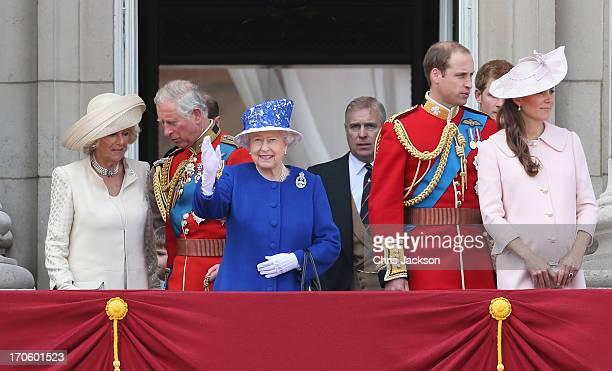 Camilla Duchess of Cornwall Prince Charles Prince of Wales Queen Elizabeth II Prince Andrew Duke of York Prince William Duke of Cambridge and...