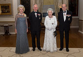Camilla Duchess of Cornwall Prince Charles Prince of Wales Queen Elizabeth II and Prince Philip Duke of Edinburgh pose as they attend a dinner at the...