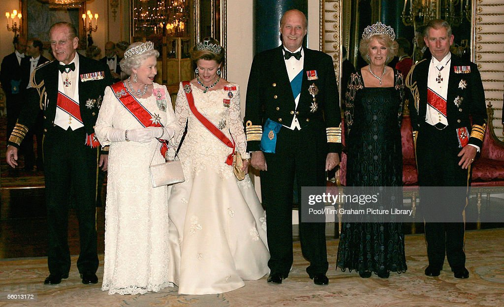 Camilla Duchess of Cornwall, Prince Charles The Prince of Wales, Queen Elizabeth II and Prince Philip the Duke of Edinburgh welcome Queen Sonja and King Harald of Norway to Britain with a banquet held at Buckingham Palace on October 25, 2005 in London, England.