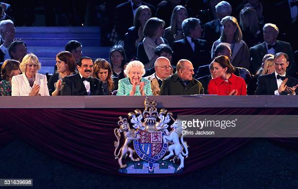 Camilla Duchess of Cornwall Prince Philip Duke of Edinburgh and Catherine Duchess of Cambridge along with Queen Elizabeth II during the final night...