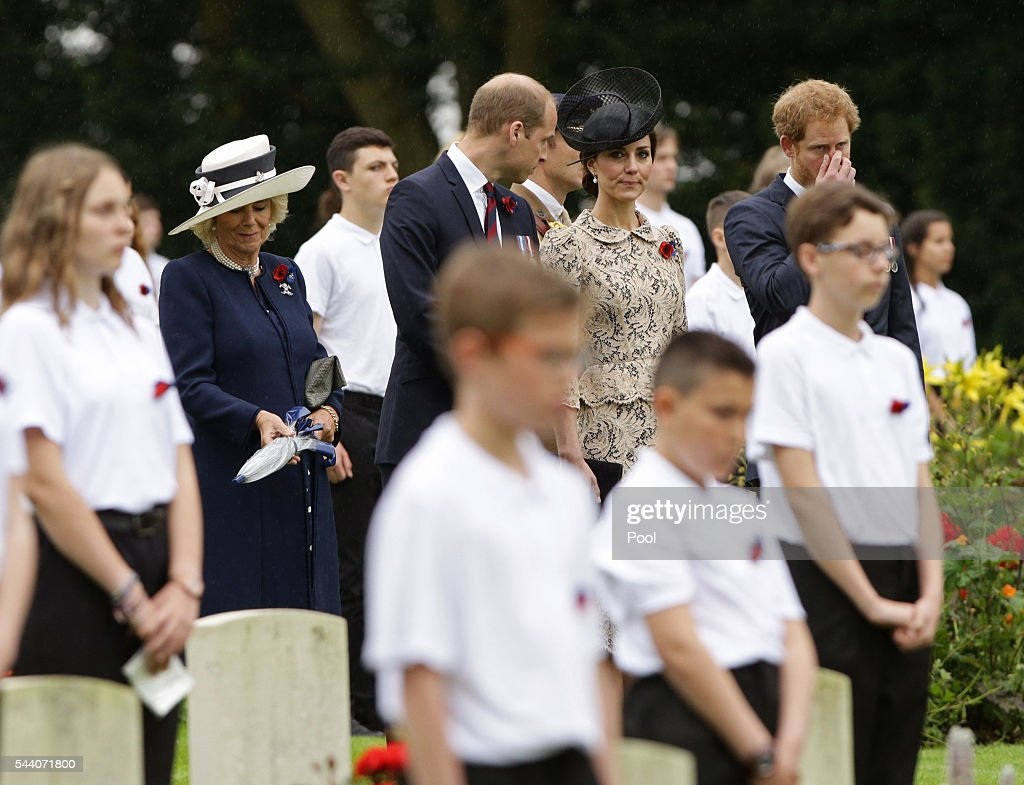 Camilla, Duchess of Cornwall, Prince William, Duke of Cambridge, Catherine, Duchess of Cambridge and Prince Harry look on following the wreath laying, during the Commemoration of the Centenary of the Battle of the Somme at the Commonwealth War Graves Commission Thiepval Memoria on July 1, 2016 in Thiepval, France. The event is part of the Commemoration of the Centenary of the Battle of the Somme at the Commonwealth War Graves Commission Thiepval Memorial in Thiepval, France, where 70,000 British and Commonwealth soldiers with no known grave are commemorated.