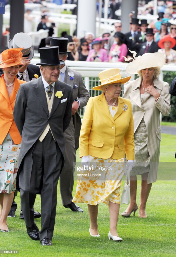 Camilla, Duchess of Cornwall, Queen Elizabeth ll, Prince Philip, Duke of Edinburgh and Princess Anne, Princess Royal attend the first day of Royal Ascot on June 16, 2009 in Ascot, England.