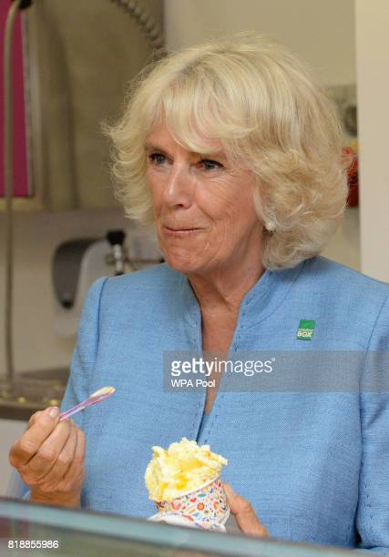 Camilla Duchess of Cornwall samples a tub of ice cream during a visit to Caterlink in Bodmin a Cornish business specialising in ice cream cones...