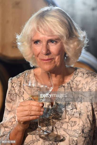 Camilla Duchess of Cornwall samples wine during a visit to Norman Hardie Winery during day two of their three day visit to Canada on June 30 2017 in...