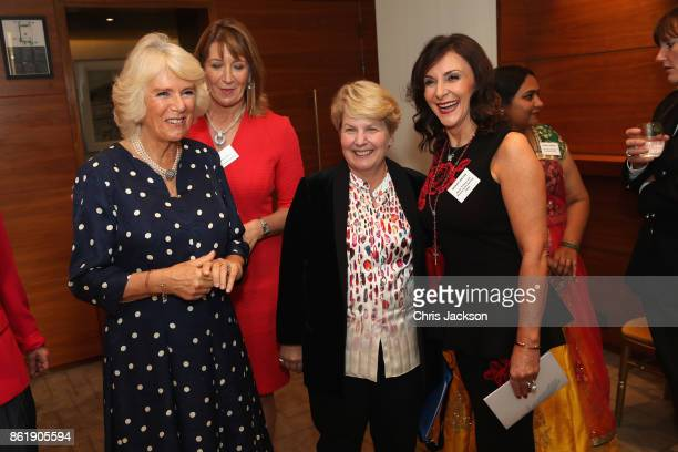 Camilla Duchess of Cornwall Sandi Toksvig and Shirley Ballas attend the annual Women of the Year lunch at Intercontinental Hotel on October 16 2017...