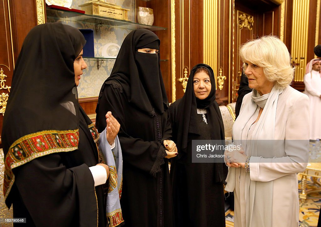 Camilla, Duchess of Cornwall shares a joke with Saudi Arabia's first female parliamentarians on the sixth day of a tour of the Middle East on March 16, 2013 in Riyahd, Saudi Arabia. The Royal couple are on the third leg of a tour of the Middle East taking in Jordan, Qatar, Saudia Arabia and Oman.