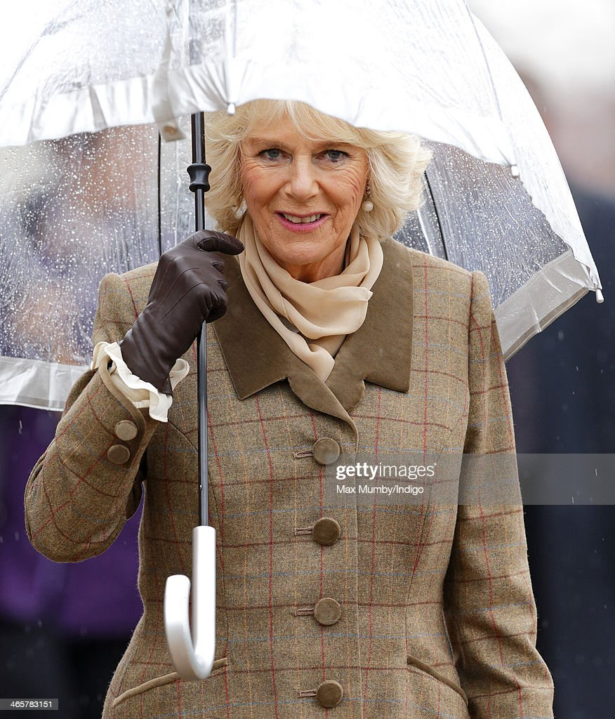 Camilla, Duchess of Cornwall shelters under an umbrella as she and Prince Charles, Prince of Wales arrive for a visit to High House Production Park, The Royal Opera House's Production Workshop on a day of engagements in Essex on January 29, 2014 in Purfleet, England.