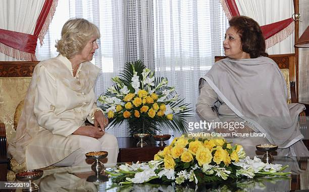 Camilla Duchess of Cornwall sits with the President of Pakistan's wife Sehba Musharraf at the President's Palace on October 30 2006 in Islamabad...