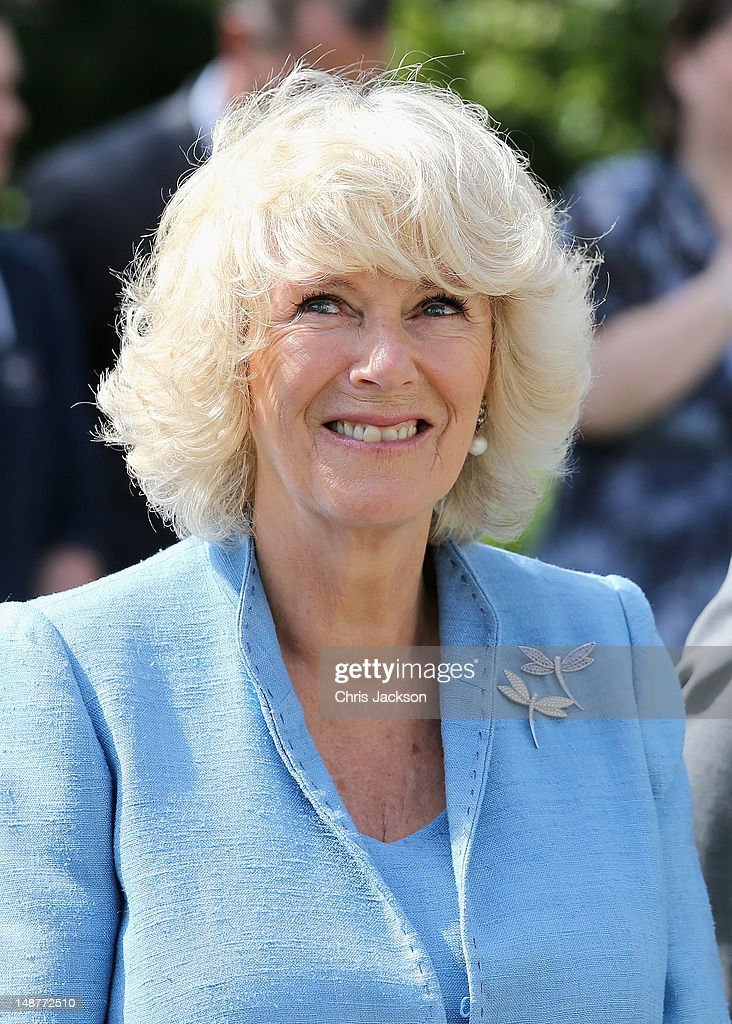 Camilla, Duchess of Cornwall smiles as she visits Herm Island on July 19, 2012 in Herm, United Kingdom. The Prince of Wales and the Duchess of Cornwall are in Herm as part of a Diamond Jubilee visit to the Channel Islands taking in Jersey, Guernsey and Sark