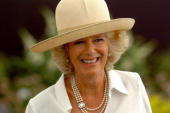 Camilla Duchess of Cornwall smiles while visiting the Sandringham Flower Show on July 26 2006 in Sandringham Norfolk England