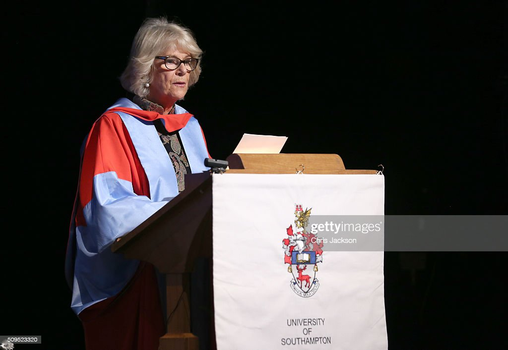 <a gi-track='captionPersonalityLinkClicked' href=/galleries/search?phrase=Camilla+-+Duchess+of+Cornwall&family=editorial&specificpeople=158157 ng-click='$event.stopPropagation()'>Camilla</a>, Duchess Of Cornwall speaks at the University Of Southampton where she was awarded an Honourary Doctorate on February 11, 2016 in Southampton, England.